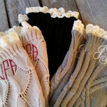 Personalized Boot Cuffs Cable Knit with Ivory Lace Trim FREE MONOGRAM Gray Beige or Black