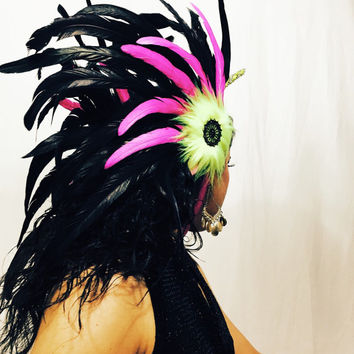 Neon Yello Unicorn head piece / burning man/ EDC / Coachella / rave outfit / hair piece / tomorrowworld
