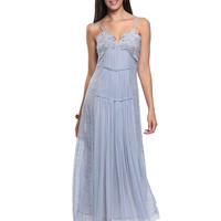 Gray Embroidery V-neck Tulle Cami Dress