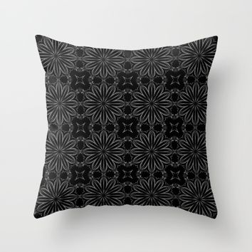 Black Floral Pattern Throw Pillow by SimplyChic