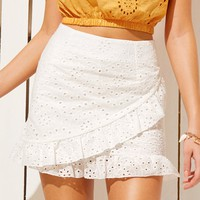 Ruffle Trim Eyelet Embroidery Wrap Skirt