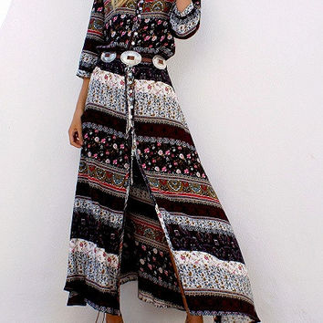 Brown Front Button 3/4 Sleeve Geo-Tribal Print Maxi Dress