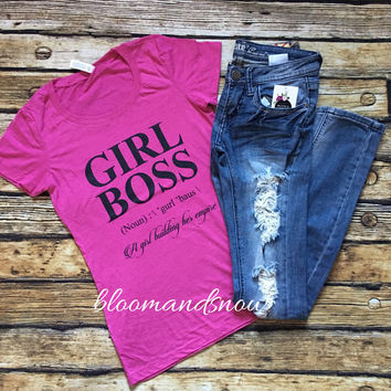 GIRL BOSS Tee - Berry Triblend