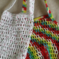 Market Tote Bag Multi-color or Winter White Holiday Carry All Cotton Crochet