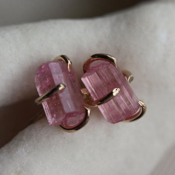 Peachy Pink Tourmaline Natural Crystals Stud Earrings, 14k Gold Filled