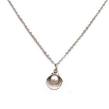 Imitation Pearl Shell Short Chain Necklace For Women