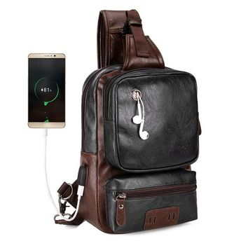 School Backpack trendy Men's Leather Backpack Back to School Chest Sling Cross-body Travel Bag with USB Charging Port Travel Bag AT_54_4