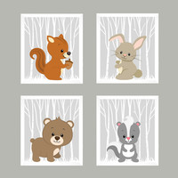 Woodland Animals, Forest Animals on Barely Gray, CUSTOMIZE COLORS, 8x10 Prints, set of 4, Nursery Decor, Animal Print, Baby Boy Wall Prints