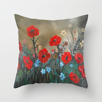 Impasto Red Poppy Love Garden Throw Pillow by RokinRonda