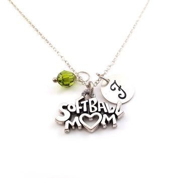 Softball Mom Personalized Sterling Silver Necklace