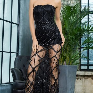 Turn Back Time Black Sheer Mesh Diamond Geometric Pattern Sequin Feather Strapless Maxi Dress