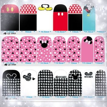 Mickey Minnie Mouse Stickers On Nails And Accessories 2 Sheets Tips Manicure Cartoon Sticker Decal