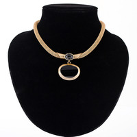 Resin crystal glass collar necklace gold/silver/black gun plated chain women necklaces pendants jewelry collares mujer MDJB268