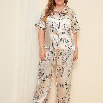 Plus Floral Button Front Satin Pajama Set