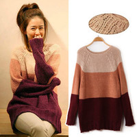 Warm Color Large Stripe Blocks Extra Long Knitted Sweater