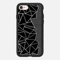Abstract Grid Outline White on Black on Side iPhone 7 Case by Project M | Casetify