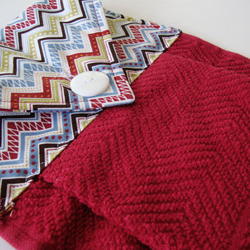 Button-Top Towel - Brick Red Hanging Dish Towel - Chevron Kitchen Towel - Quilted Dish Towel - Decorative Towel