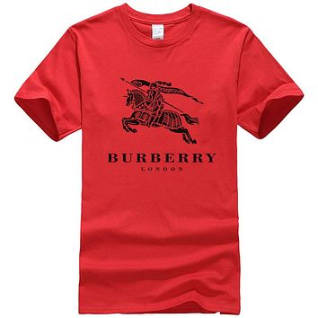 BURBERRY Fashion Women Man Casual Print Sport Round Collar T-Shirt Top Blouse Red