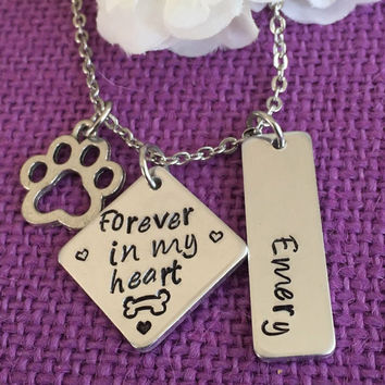 Pet Memorial Jewelry - Personalized Dog Memorial Necklace- Pet Loss Gift - Forever in My Heart Personalized Necklace - Dog Remembran