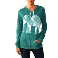 Kawaii Elephant Print Sweatshirt 2017 Autumn Spring Hoodies Shirts Pullovers Long Sleeve Basic Tops Women Sweatshirt Blusa GV439