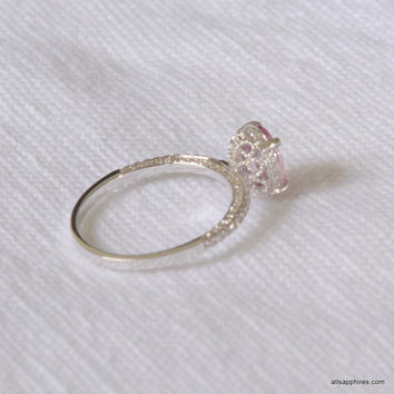 1.446 carat Untreated pinkish peach sapphire in a 100 diamond micro paves fine quality setting, engagement ring JOANNA-971P