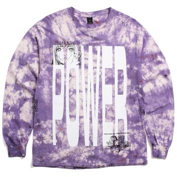 Power Longsleeve T-Shirt Purple Tie-Dye