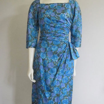 Wiggle Dress 1960s/ Milton Lippmann/ Mad Men Joan/ Blue Floral Silk/ Wedding Party/ Faux Wrap Dress/ Ruched/ Cocktail Evening/ Hip Bow
