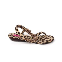 Betsey Johnson – Kinkki Leopard & Rose Print Sandals In Leopard/Gold Chain/Rose Embroidery | Thirteen Vintage