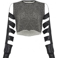 PUNKYFISHCut Out Faux Leather Long Sleeve Top