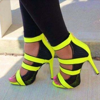 Neon Straps Cut Out Sandals Open Toe Mesh High Heels Stiletto Zipper Back Shoes