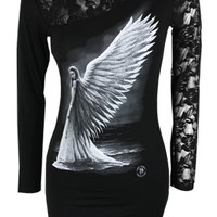 Spiral Spirit Guide Lace Shoulder Ladies Top - Buy Online at Grindstore.com