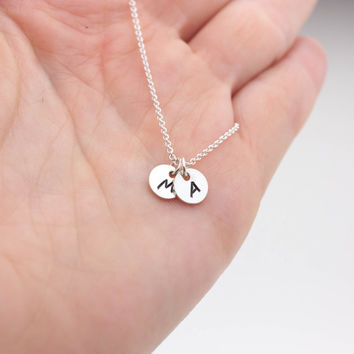 Tiny Silver Initial Necklace - Personalized Jewelry . 925 Sterling Silver Hand-Stamped Initial Drop . Gift Ideas for Her, Bridesmaids, Mom