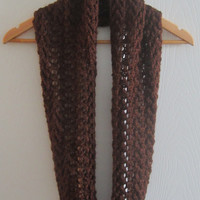 Dark Brown Scarf - Eco Friendly Scarf - Knit Infinity Scarf - Hand Knit Accessory - Soft Scarf - Winter Scarf - Made in Canada - Open Knit