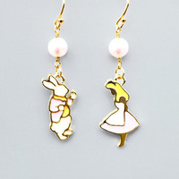 Alice in wonderland, Alice, Rabbit, Pink, Pearl, Gold, Earrings, Alice and rabbit, Gold plated, Gold filled, Hooks, Gift, Necklace, Jewelry