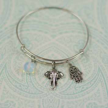 Elephant, Hamsa and Opalite Charm Bracelet, Boho Elephant Adjustable Charm Bracelet, Alex and Ani Hamsa Bracelet, Boho Opalite Jewelry