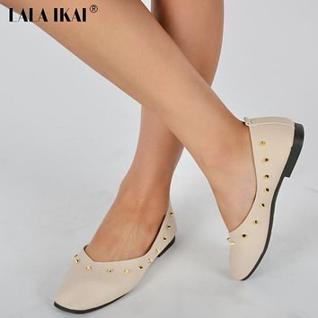 LALA IKAI Solid Gold Flats Women Casual Shoes Oxfords Lady Square Toe Slip on Loafers Retro Punk Rivet Studded Shoes 040A0718-4
