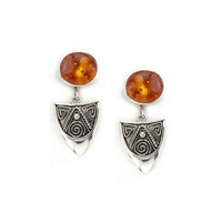Bask Jewelry Amber and Arrowhead Shape Sterling Silver Earrings