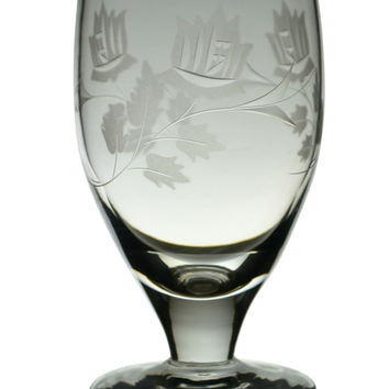 3 Frosted White Wine Glasses Vintage English 1960s