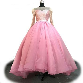 Pink Organza and Sequined Evening Dress Long Sleeve Long Ball Gown Custom Luxury Party Dress