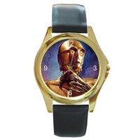 "Star Wars "" C3PO "" on a Mens, Boys Gold Tone Watch with Leather Band"