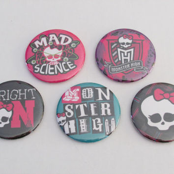 Monster High Magnet Set of 5 - Birthday Party Favors - Pinata Prizes - Monster High Birthday - Monster High Party Favors