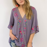 Eloise Embroidered Surplice Top