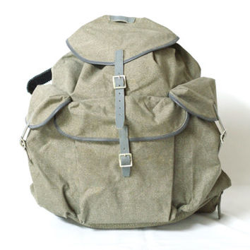 SWISS ARMY 1956 Backpack, Lighter Style Rucksack, Military Leather Canvas Bag, 'Salt & Pepper', Large Fishing Hiking Rucksack, Switzerland