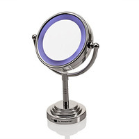 Ovente MLT28C LED Battery-Operated Tabletop Vanity Mirror, 1X/5X Magnification, Chrome