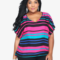 Multi-Striped Lattice Back Dolman Top | Torrid