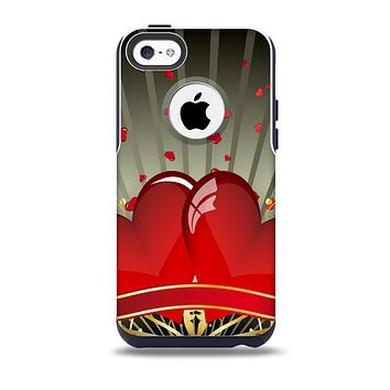 The Gold Ribbon Love Hearts Skin for the iPhone 5c OtterBox Commuter Case