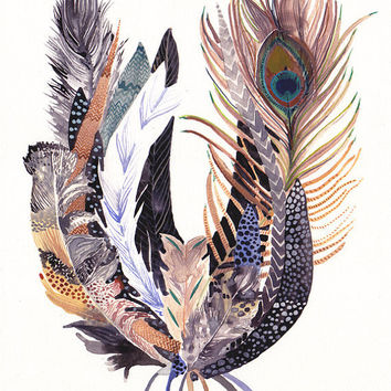 Feather Bundle  -Large  Archival Print