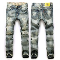 Men's Designer LightWashed Ripped Jeans