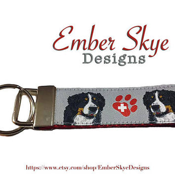 Bernese Mountain Dog Key Fob