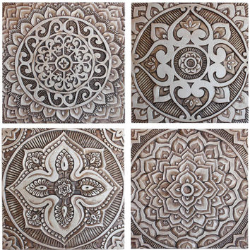 Mandala wall art made from ceramic - exterior wall art - mandala art - mandala wall hanging - handmade tile - mandala5 - silver